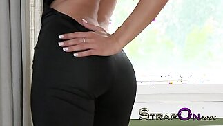 StrapOn Super hot dominant babe pegging fella after sex for gspot orgasm while he cums