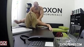 Horny blonde secretary fucks boss in the office