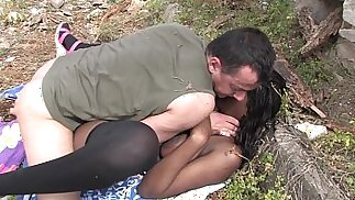 Bigtits black ghetto slut with big ass outdoor pussy fucking
