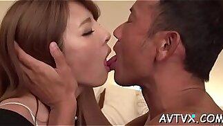 Japanese slut delights stud with awesome cock saddling