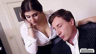 BUMS BUERO Boss fucks busty German secretary and cums on her big tits